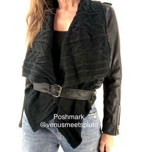 Abbeline Shawl Front Faux leather Boho Jacket S